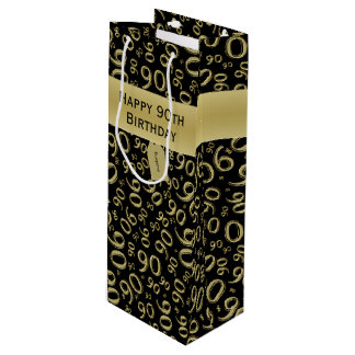 Personalize:  Happy 90th Birthday Gold/Black (W) Wine Gift Bag
