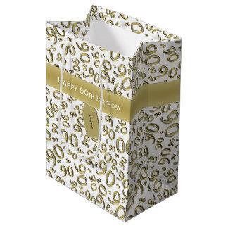 Personalize:  Happy 90th Birthday Gold/White (M) Medium Gift Bag