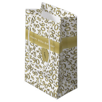 Personalize:  Happy 90th Birthday White/Gold (S) Small Gift Bag