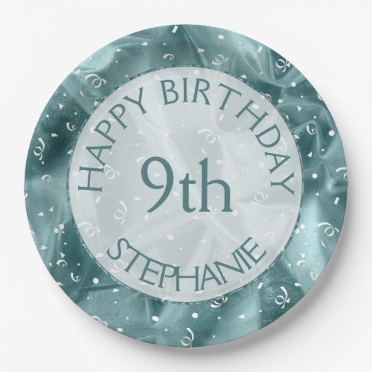 """Personalize: """"Happy Birthday"""" Aq uaTextured 9 Inch Paper Plate"""
