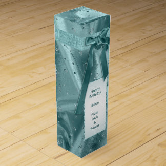 "Personalize: ""Happy Birthday"" Aqua Textured Bottle Wine Gift Box"