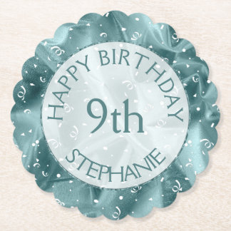 "Personalize: ""Happy Birthday"" Aqua Textured Paper Coaster"