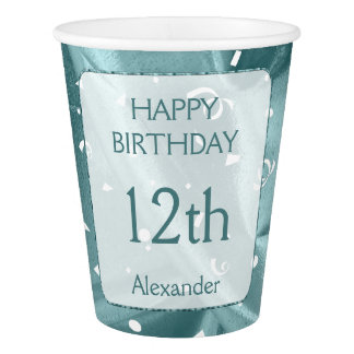 "Personalize: ""Happy Birthday"" Aqua Textured Paper Cup"