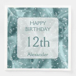 "Personalize: ""Happy Birthday"" Aqua Textured Paper Napkin"