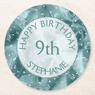 "Personalize: ""Happy Birthday"" Aqua Textured Round Paper Coaster"