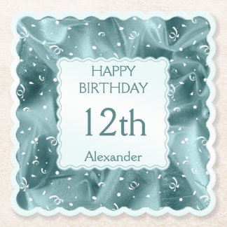 Personalize: Happy Birthday Aqua Textured Scallops Paper Coaster