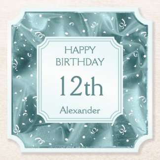 Personalize: Happy Birthday Aqua Textured Ticket Paper Coaster