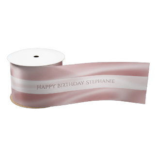 "Personalize ""Happy Birthday"" Faux Girly Pink Satin Satin Ribbon"