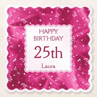 Personalize: Happy Birthday Fuchsia Scallops Paper Coaster