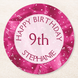 "Personalize: ""Happy Birthday"" Fuchsia Textured Round Paper Coaster"
