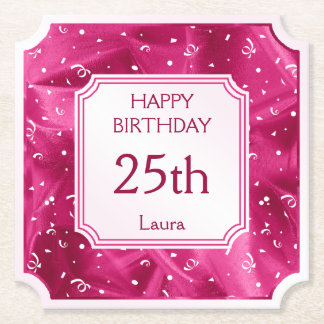 Personalize: Happy Birthday Fuchsia Ticket Shape Paper Coaster
