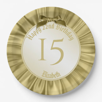 """Personalize """"Happy Birthday""""  Gold Faux Satin Paper Plate"""