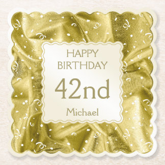 Personalize: Happy Birthday Gold Scallops Paper Coaster