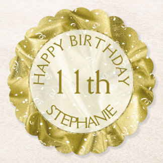 "Personalize: ""Happy Birthday"" Gold Textured Paper Coaster"