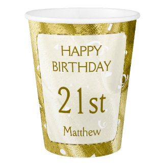 """Personalize: """"Happy Birthday"""" Gold Textured Paper Cup"""
