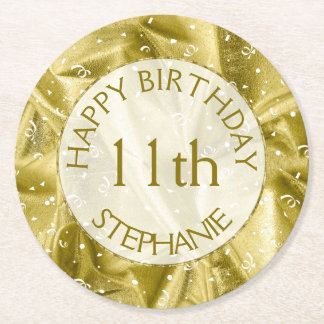 "Personalize: ""Happy Birthday"" Gold Textured Round Paper Coaster"