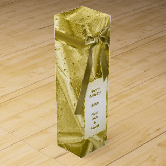 "Personalize: ""Happy Birthday"" Gold Textured Wine Bottle Boxes"
