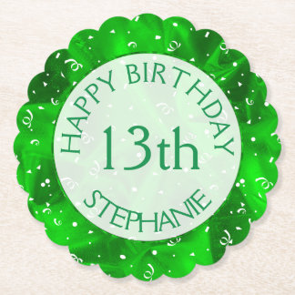 "Personalize: ""Happy Birthday"" Green Textured Paper Coaster"