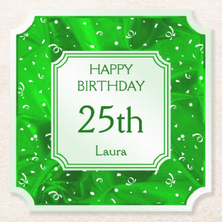 Personalize: Happy Birthday Green Ticket Shape Paper Coaster