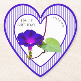 Personalize: Happy Birthday Morning Glory Paper Coaster