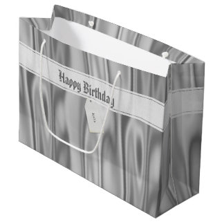 "Personalize ""Happy Birthday"" on Faux Gray Satin Large Gift Bag"