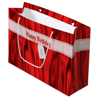 "Personalize ""Happy Birthday"" on Faux Red Satin Large Gift Bag"