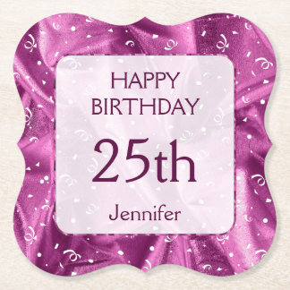 """Personalize: """"Happy Birthday"""" Orchid Textured Paper Coaster"""