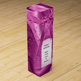 "Personalize: ""Happy Birthday"" Orchid Textured Wine Boxes"