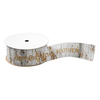 Personalize: Happy Birthday -  Peeling Paint Image Grosgrain Ribbon