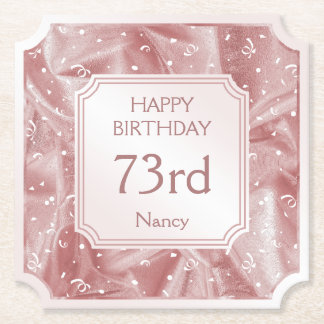 Personalize: Happy Birthday Pink Ticket Shape Paper Coaster