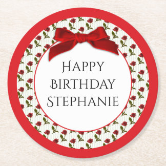 Personalize: Happy Birthday Red Roses Pattern Round Paper Coaster