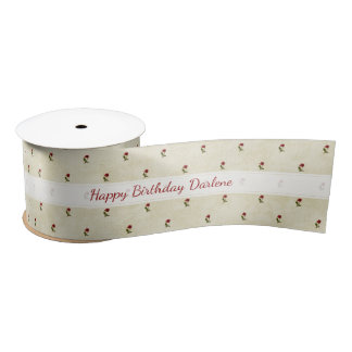 Personalize: Happy Birthday Red Roses Pattern Satin Ribbon