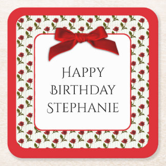 Personalize: Happy Birthday Red Roses Pattern Square Paper Coaster