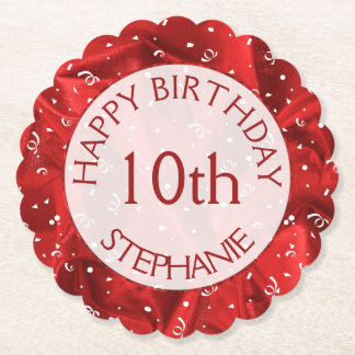 "Personalize: ""Happy Birthday"" Red Textured Paper Coaster"
