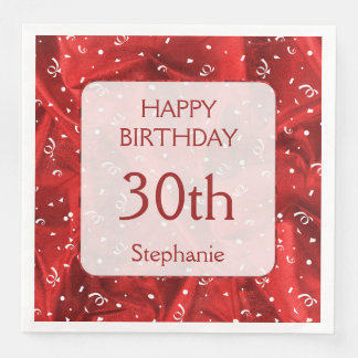 """Personalize: """"Happy Birthday"""" Red Textured Paper Napkins"""