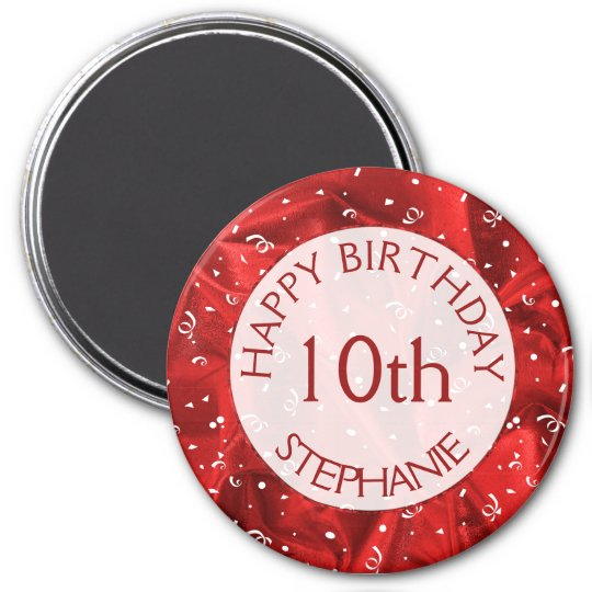 "Personalize: ""Happy Birthday"" Red Textured Round Magnet"