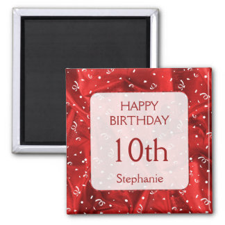 """Personalize: """"Happy Birthday"""" Red Textured Square Magnet"""