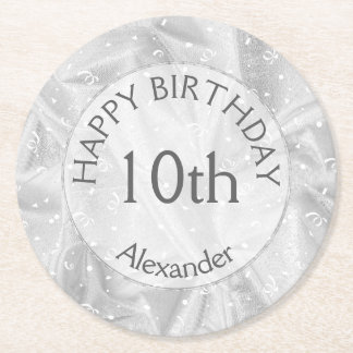 "Personalize: ""Happy Birthday"" Silver Textured Round Paper Coaster"