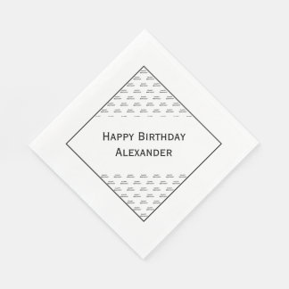 "Personalize:  ""Happy Birthday"" Typography Pattern Paper Napkin"
