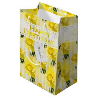"Personalize:  ""Happy Birthday"" Yellow Daffodils Medium Gift Bag"