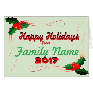 Personalize Happy Holiday 2017 Card
