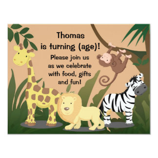 Personalize Happy Jungle Birthday Party Invitation
