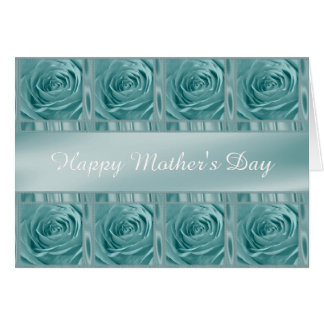 """Personalize """"Happy Mother's Day"""" Aqua Rose Photo Card"""