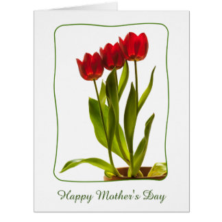 """Personalize: """"Happy Mother's Day"""" Red Tulips Card"""