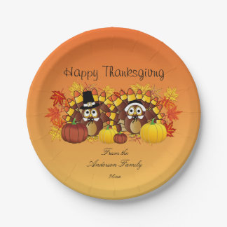 Personalize Happy Thanksgiving Owl Turkey Pilgrims Paper Plate