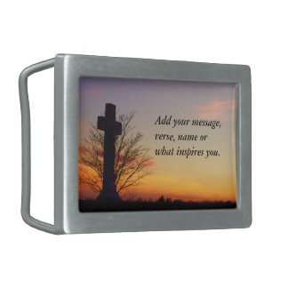 (Personalize) Holy Cross at Sunset Belt Buckles