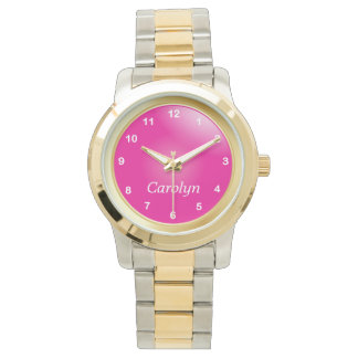Personalize Hot Pink with White Numbers Wrist Watches