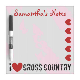 PERSONALIZE I Heart Cross Country - I Love CC Dry Erase Board