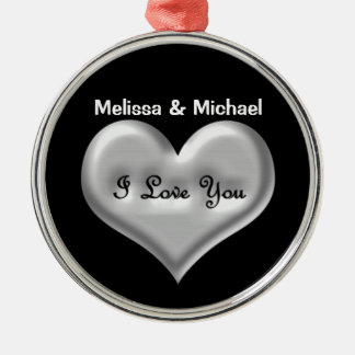 Personalize I love you grey heart metallic effect Silver-Colored Round Ornament
