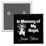 Personalize In Memory of My Angel Lung Cancer 2 Inch Square Button
